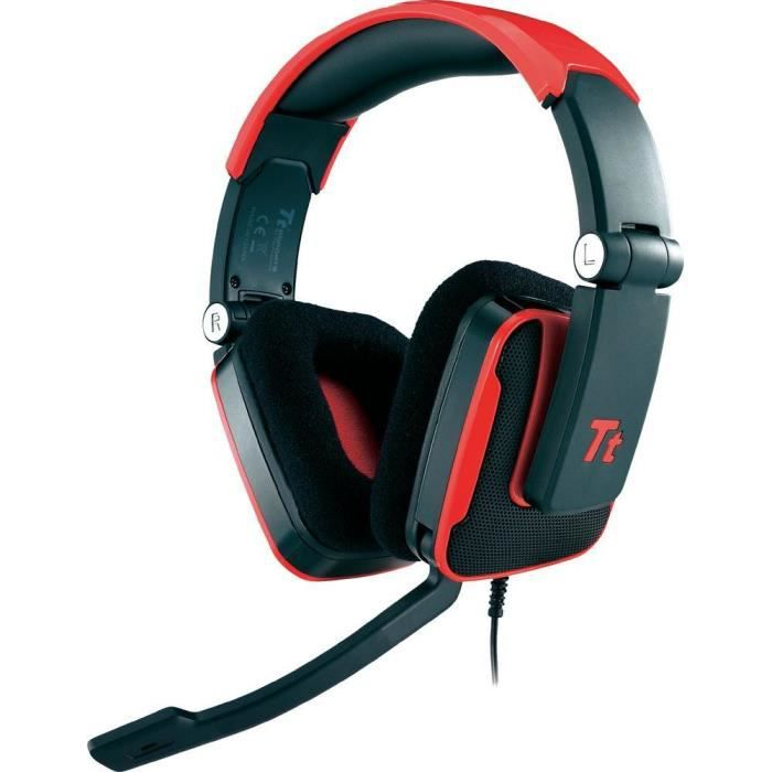 micro casque gaming tt esports shock rouge prix pas cher cdiscount. Black Bedroom Furniture Sets. Home Design Ideas