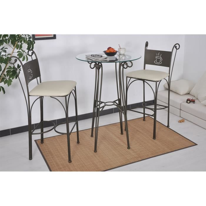 Table haute ronde 2 chaises hautes bronze cof achat - Table mange debout ronde ...