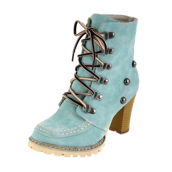 Bottines Femmes Femmes Chunky Talons Hauts Fermeture Éclair Latérale Chaussures De Loisirs Neuf Taille S