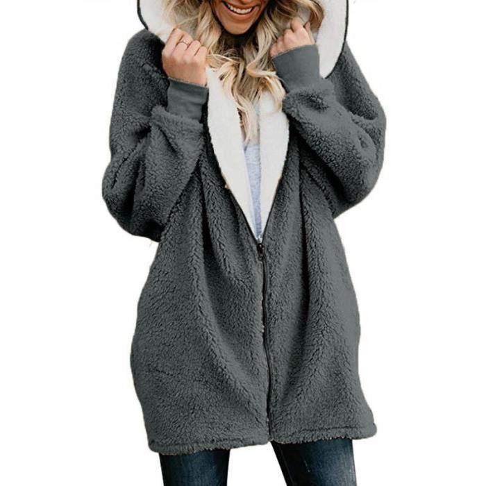 Sweat zippe a capuche femme manteau hiver