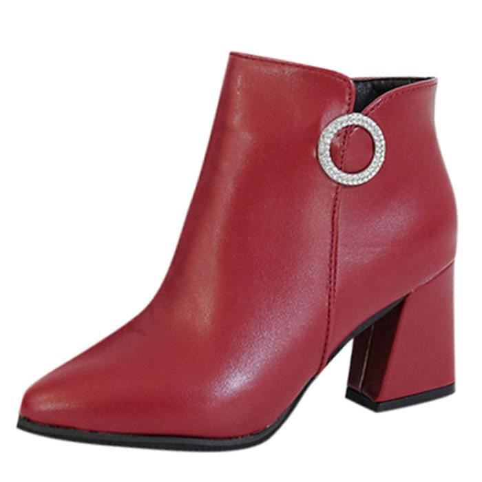 Bottine Bottine cuir femme femme rouge cuir R3Lc4jA5qS