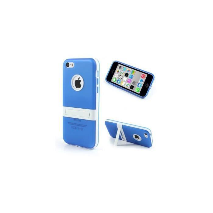 coque iphone 5c silicone hybride bleu