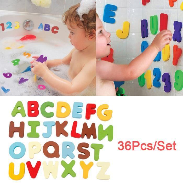 36pcs// Lot De Bain Flottant Numéros Et Lettres Éducatif Alphanumérique