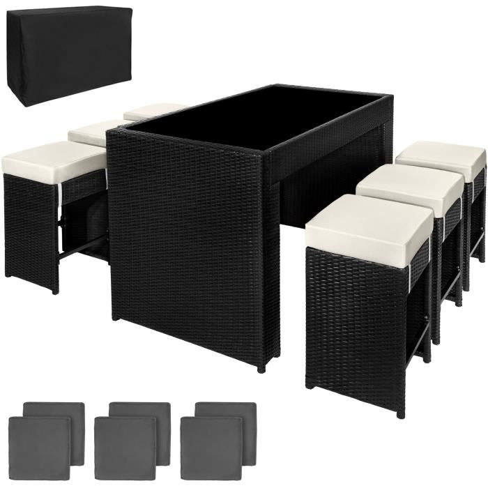 salon bar de jardin r sine tress e aluminium tectake noir 6 tabourets 2 sets de housses. Black Bedroom Furniture Sets. Home Design Ideas