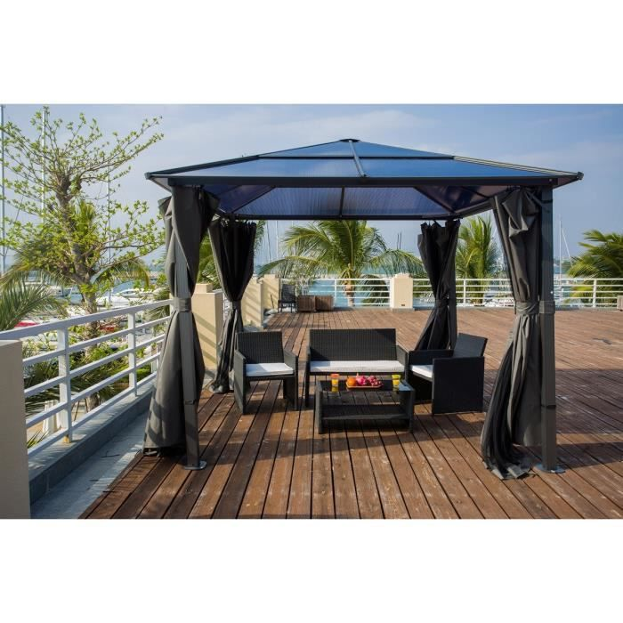 tahiti tonnelle de jardin en aluminium 3x3 m avec tube en polycarbonate et toile en polyester. Black Bedroom Furniture Sets. Home Design Ideas