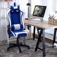 Chaise Gamer D'Ordinateur Ergonomique- Bleu Et Blanc