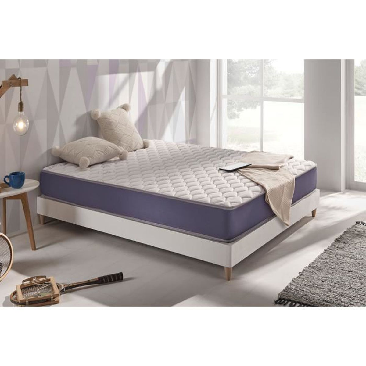matelas gel soft 80x200 cm en blue latex m moire de forme. Black Bedroom Furniture Sets. Home Design Ideas