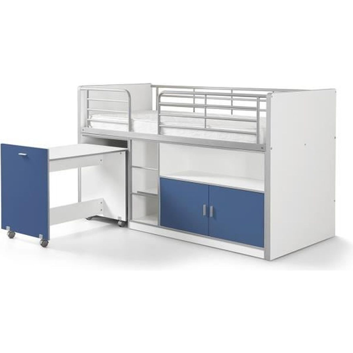 vipack lit mezzanine bureau rangement 90x 200 bonny bleu achat vente lit mezzanine. Black Bedroom Furniture Sets. Home Design Ideas