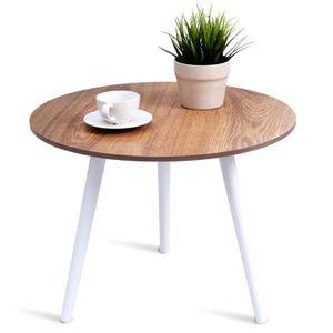 TABLE À MANGER SEULE Table à Manger Ronde en Bois avec 3 Pieds Table de