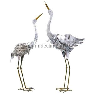 AB Tools Grue//Heron Statue Sculpture Jardin Ornement Decoration Metal Animaux Oiseaux