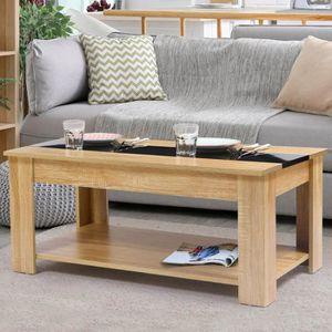 TABLE BASSE Table basse contemporaine bois façon hêtre et noir