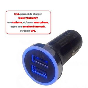 PRISE ALLUME-CIGARE Chargeur allume cigare voiture - Double USB 3,1Ah