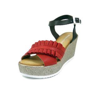SANDALE - NU-PIEDS Sandale nu-pieds pour femme, cuir rouge et marron,