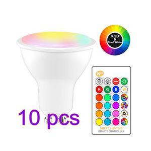 AMPOULE - LED 10pcs RGBW Ampoule LED, 8W RGB Spot Lumiere LED Co