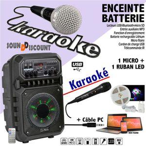 PACK SONO ENCEINTE SONO PORTABLE 200W USB BLUETOOTH FM + RUB