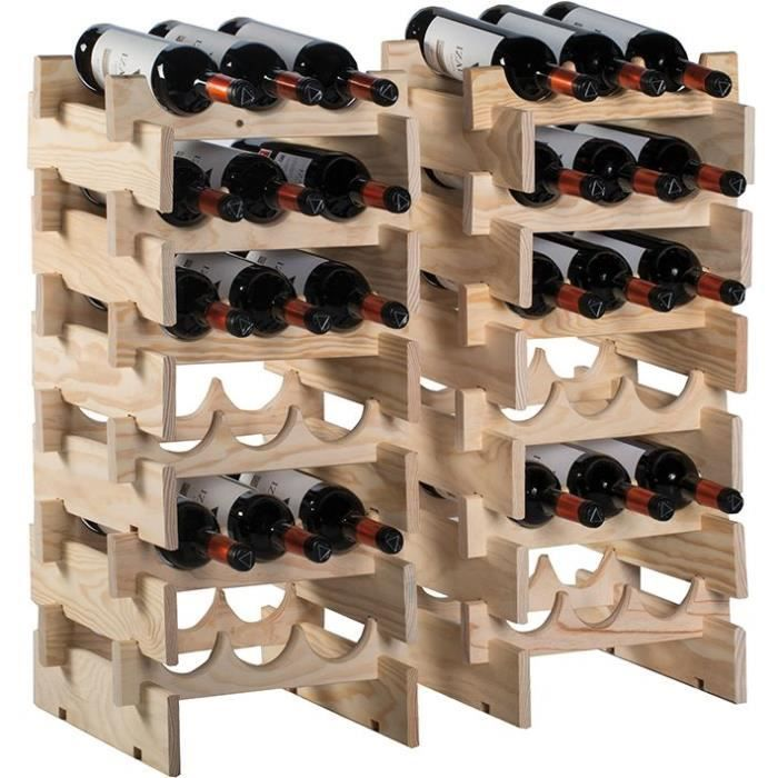Casier range-bouteilles merlot - 6 cases - pin massif
