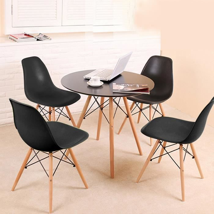 YIS Ensemble Table à manger en Bois Ronde + 4 Chaises - Design Scandinave - pour Salle à Manger, Balcon, Cuisine ou Bureau - Noir