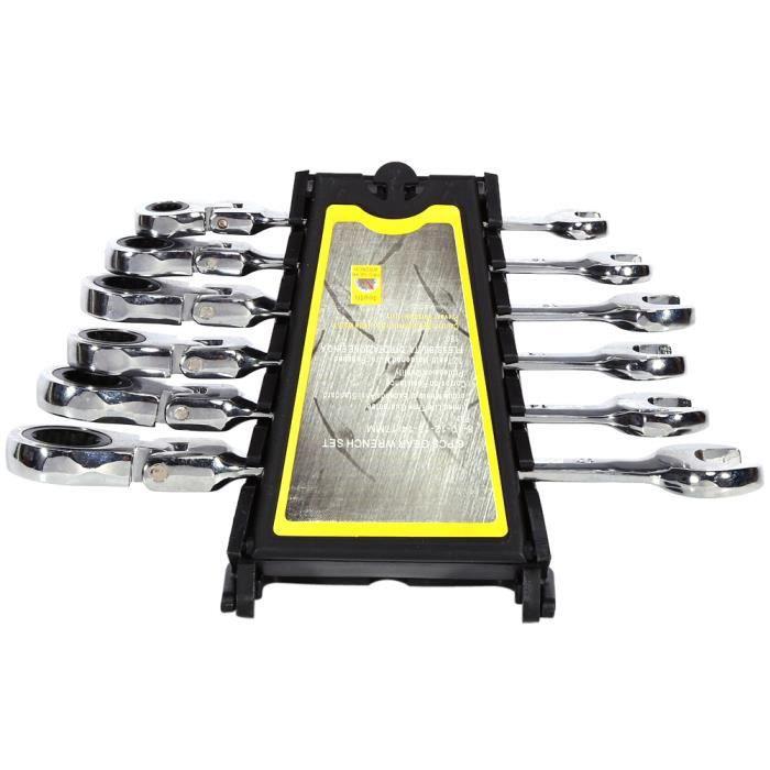 Jeu de 6 clés mixtes de 8-10-12-13-14-17 mm , Tête mobile