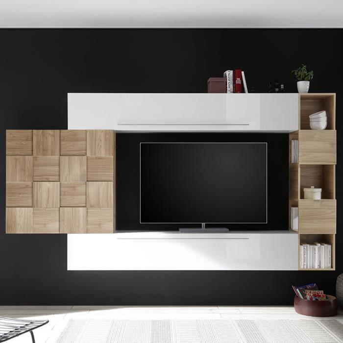 Ensemble meuble TV blanc laqué et couleur bois clair LICATA Blanc L 300 x P 35 x H 200 cm