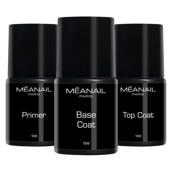 Base, Top Coat et Primer - Trio Essentiel semi-permanent - Brillance, tenue et long lasting - Soin des ongles - Meanail Paris