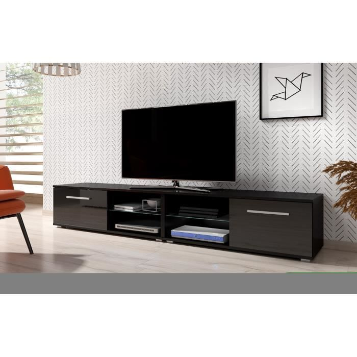3xeLiving Meuble TV moderniste Punes noir / noir brillant 200 cm
