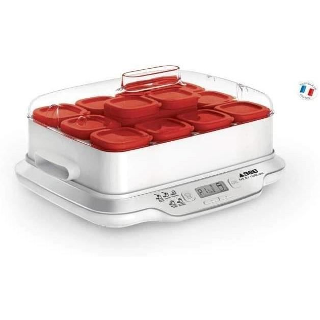 Seb Yaourtière Multidélices Express 12 Pots Rouge Yaourt Maison 5 Programmes Automatiques Desserts Lactés Fromages Blancs Desserts M