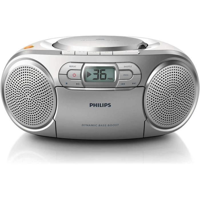 Philips AZ127/12 Lecteur CD Portable,CD Player Portable (Amplification Dynamique des Basses, Radio FM,Platine Cassette,Entrée Audio)