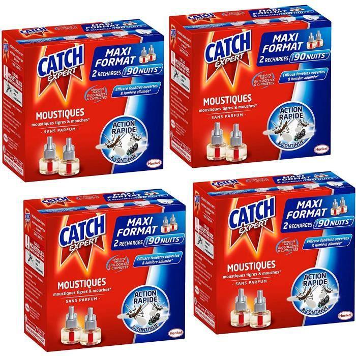 Catch Expert – Recharge Liquide pour Diffuseur Electrique Anti–Moustiques & Moustiques Tigres – Sans Parfum – 90 Nuits – Lot de 4 (4
