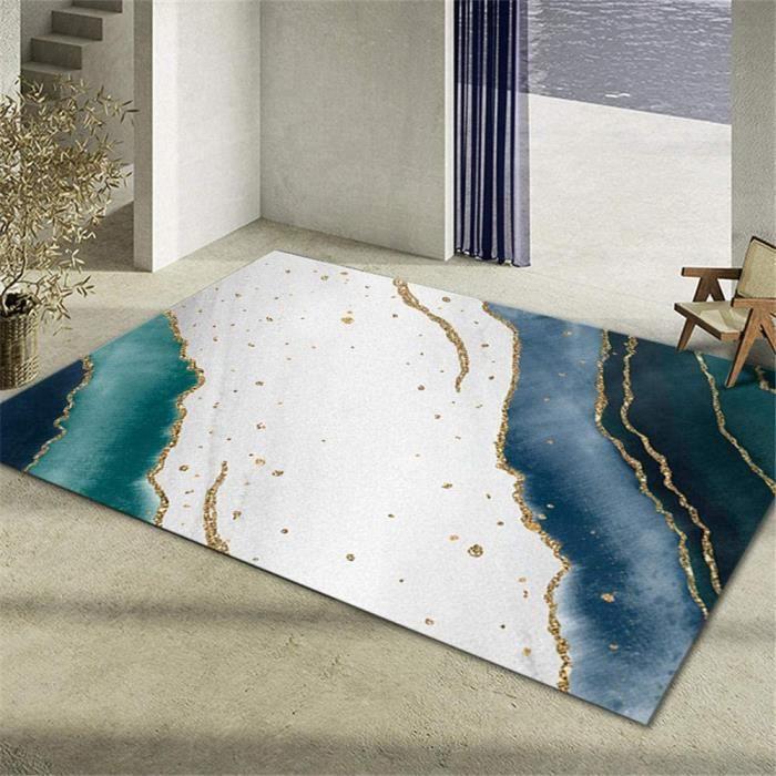 TAPIS DE JARDIN Deco de Jardin Exterieur Decoration Salon Tapis de Salon de Chambre &agrave Coucher rectangulaire Blanc Bleu Ve137