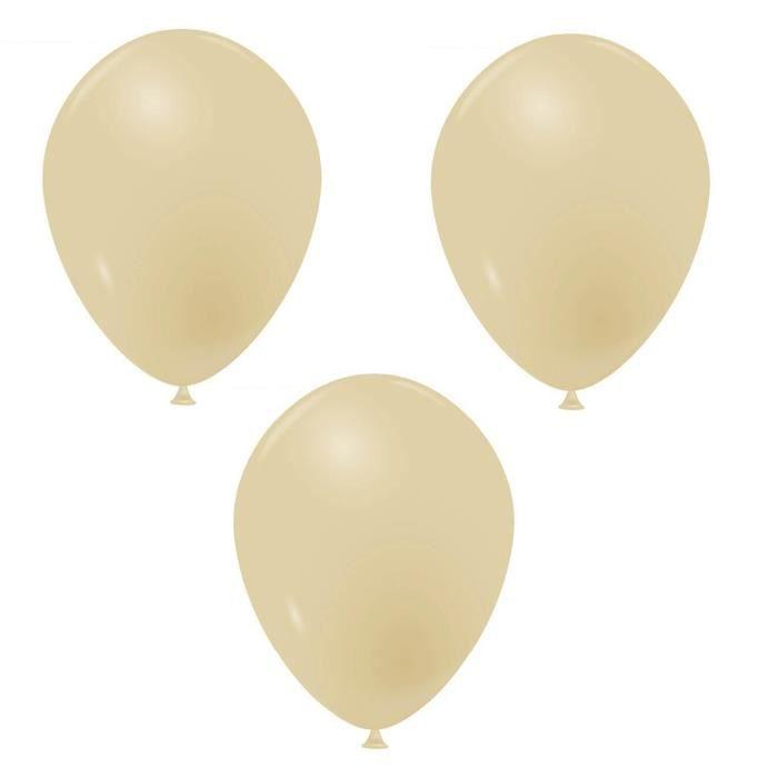 Ballon opaque français en latex biodégradable Beige 25cm (x10) REF/40173
