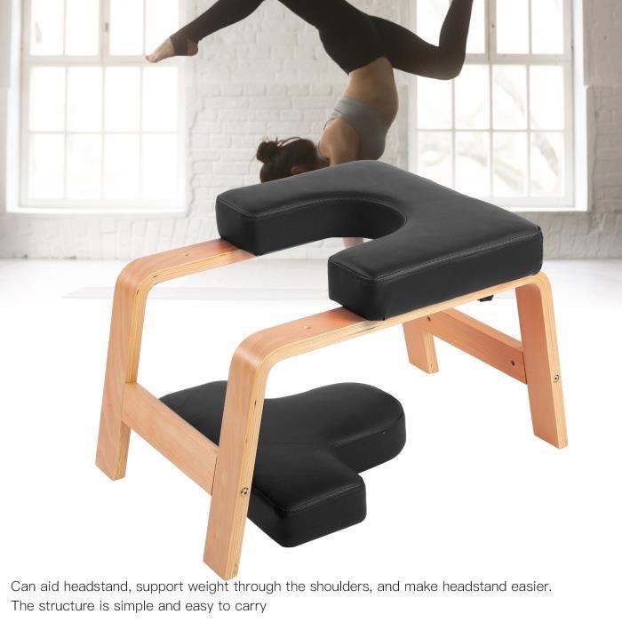 VQU Chaise d'inversion de yoga en bois tabouret à l'envers banc d'exercice de sport 60x40x40cm