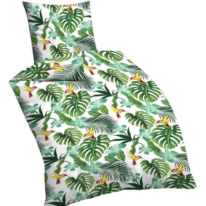 DILUMA - Linge de lit en microfibre jungle - Parure de lit avec housse de couette 135x200 cm et taie d'oreiller 80x80 cm - Respirant