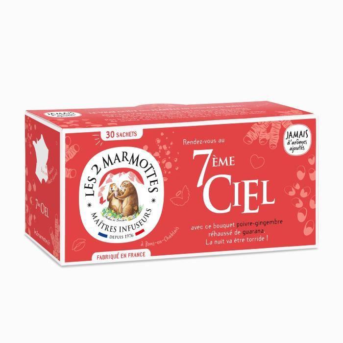 Les 2 Marmottes - Infusion -7ème Ciel- 30 sachets - BIO - Poivre Noir, Gingembre et Guarana - Made In France - Sans arômes ajoutés