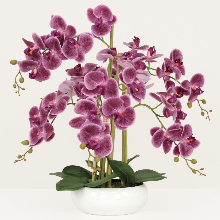 Orchidée prune artificielle coupe céramique 55 cm