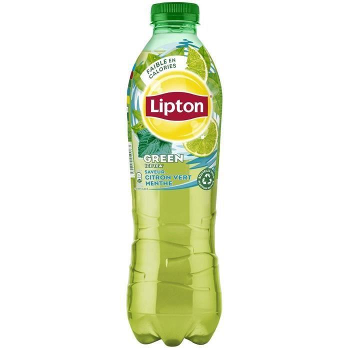 LOT DE 3 - LIPTON Green Ice tea - Thé glacé aromatisé citron vert et menthe 1 L