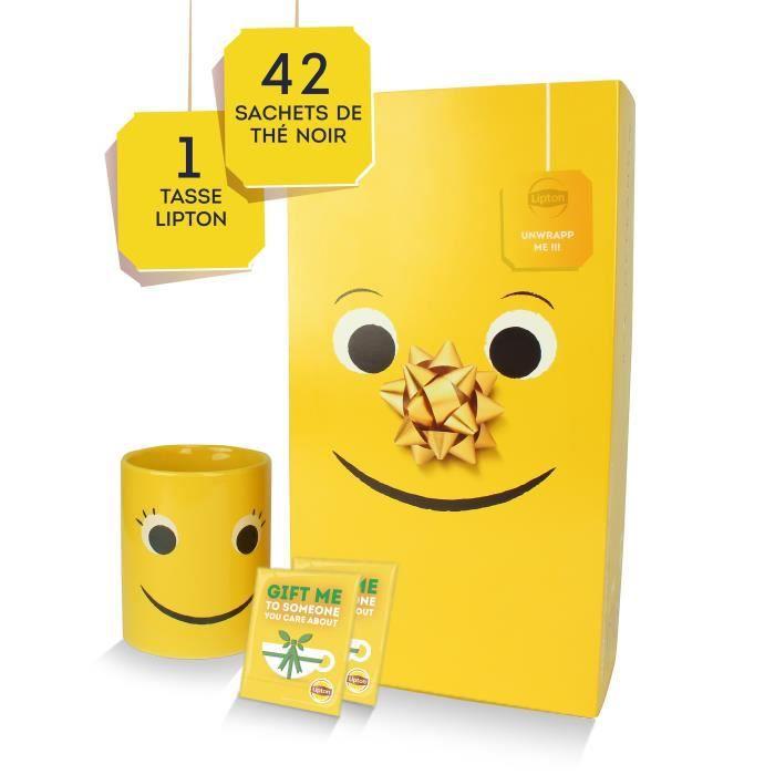 LIPTON Thé Yellow Label Coffret Cadeau Lipton avec tasse, 42 sachets +1 mug collector