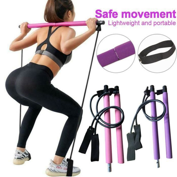 LOT DE 1 SET Kit de Barre de Pilates Portable avec Bande de Résistance, Barre de Résistance-Bâton de Yoga-Barre d'Exercice ROSE
