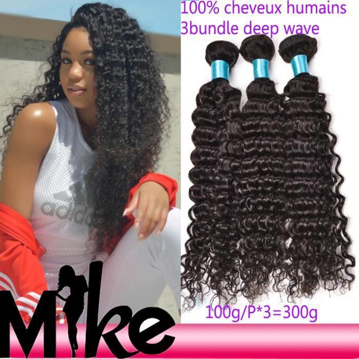 3 tissage bresilien deep wave virgin hair 9A cheveux naturels meches 100g/p 20+22+24 pouces