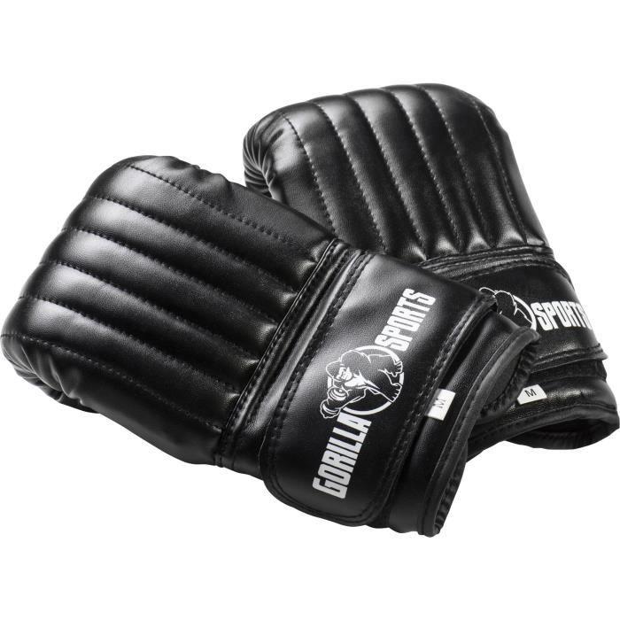 Gorilla Sports - Gants de boxe fins noir haute qualité pour entrainement - S