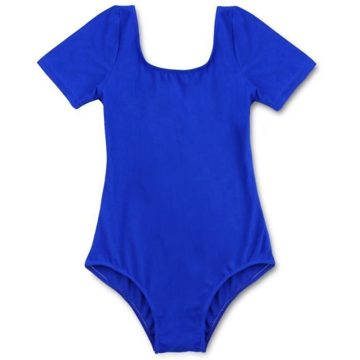 Fille Justaucorps Danse Classique Leotard Manches Courtes Dancewear Enfant 3-12 Ans Bleu marine