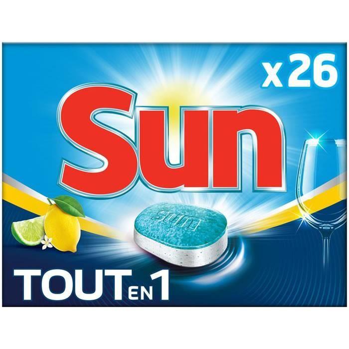 LOT DE 12 - SUN Tout en 1 - Tablettes lave-vaisselle hydrofilm parfum citron 26 tablettes