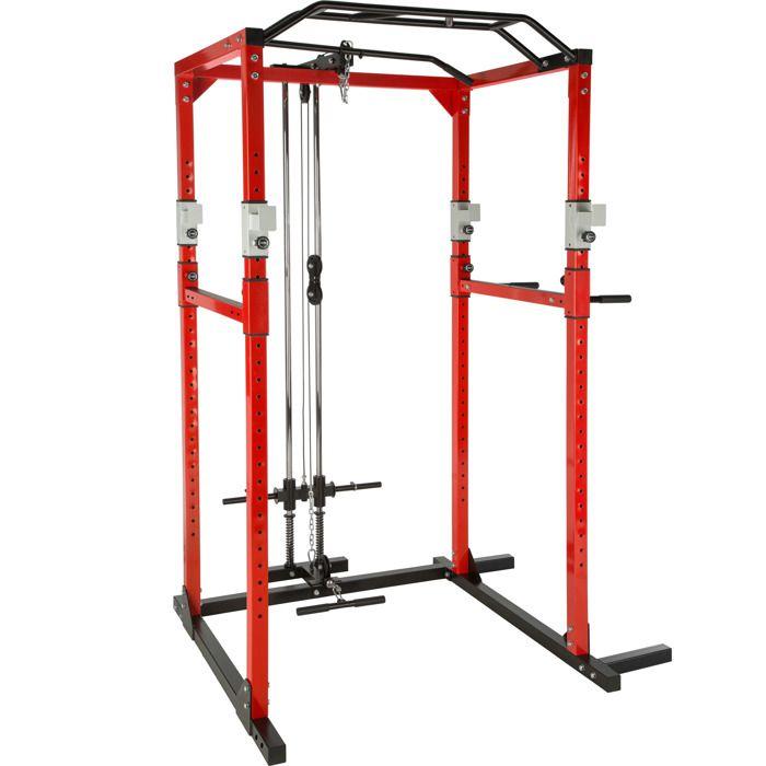 TECTAKE Cage de Musculation Traction Squats Barres pour Dips 136 cm x 142,5 cm x 215 cm Rouge