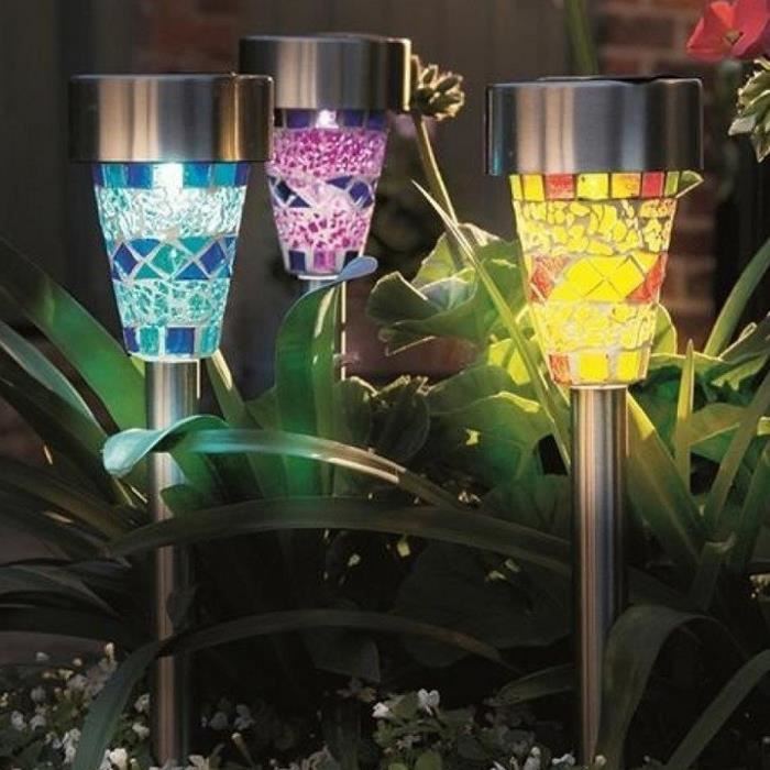 lampe led jardin mosaique achat vente pas cher. Black Bedroom Furniture Sets. Home Design Ideas