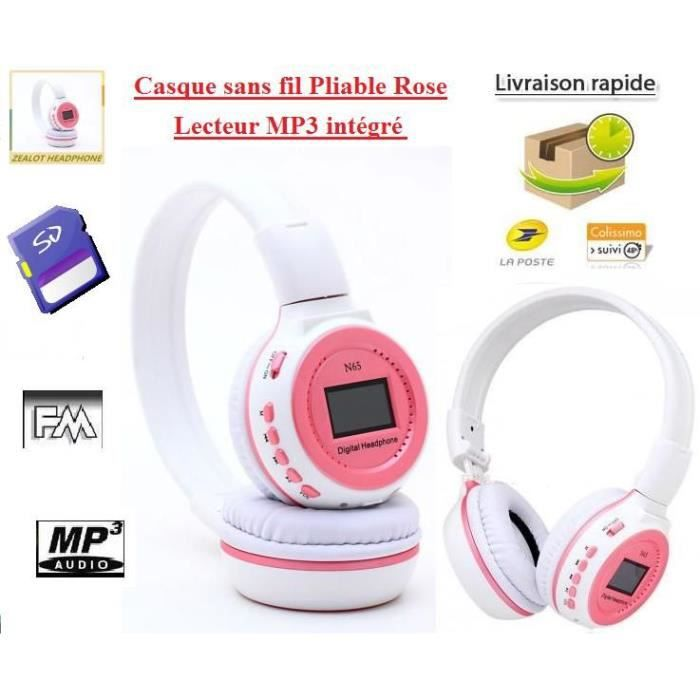 casque rose sans fil lecteur mp3 int gr 4gb lecteur. Black Bedroom Furniture Sets. Home Design Ideas