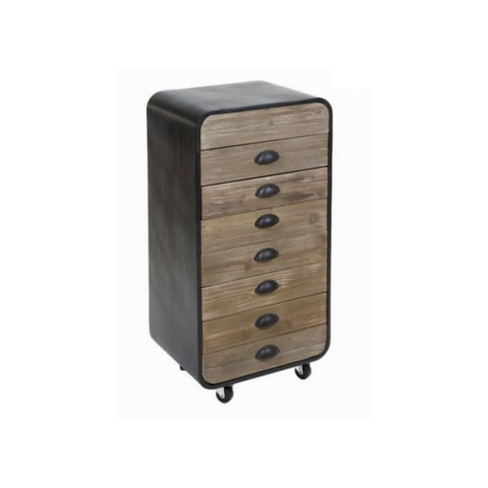 chiffonnier 7 tiroirs en bois et m tal industriel loft achat vente chiffonnier semainier. Black Bedroom Furniture Sets. Home Design Ideas