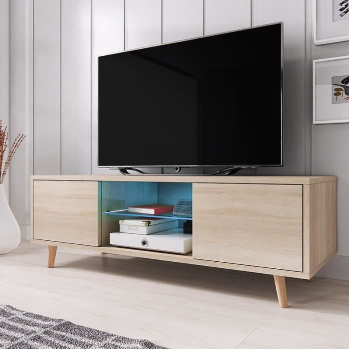 meuble tv rivano sonoma clair avec led bleue achat vente meuble tv meuble tv rivano sonoma. Black Bedroom Furniture Sets. Home Design Ideas
