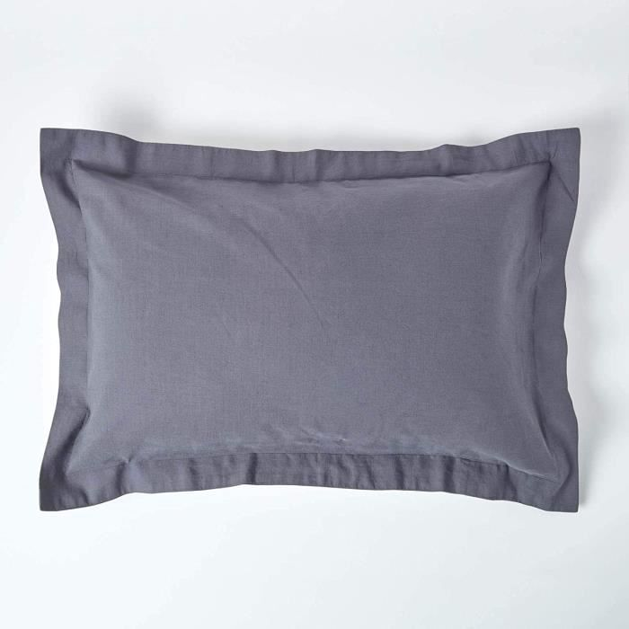 100/% Lin Lave 50 x 70cm Bleu Linen /& Cotton Taie doreiller Caelum