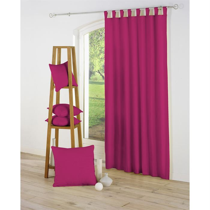 rideau passants 140x260 essentiel fuchsia achat vente rideau cdiscount. Black Bedroom Furniture Sets. Home Design Ideas