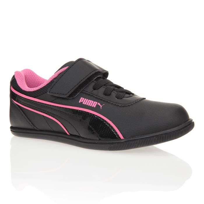puma baskets mindy chaussures enfant fille noir et rose achat vente basket cdiscount. Black Bedroom Furniture Sets. Home Design Ideas
