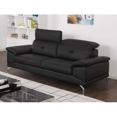 canap 3 places en cuir de buffle kennedy noir achat vente canap sofa divan cdiscount. Black Bedroom Furniture Sets. Home Design Ideas